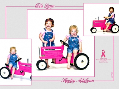 Hayley and Cora Pink Tractor